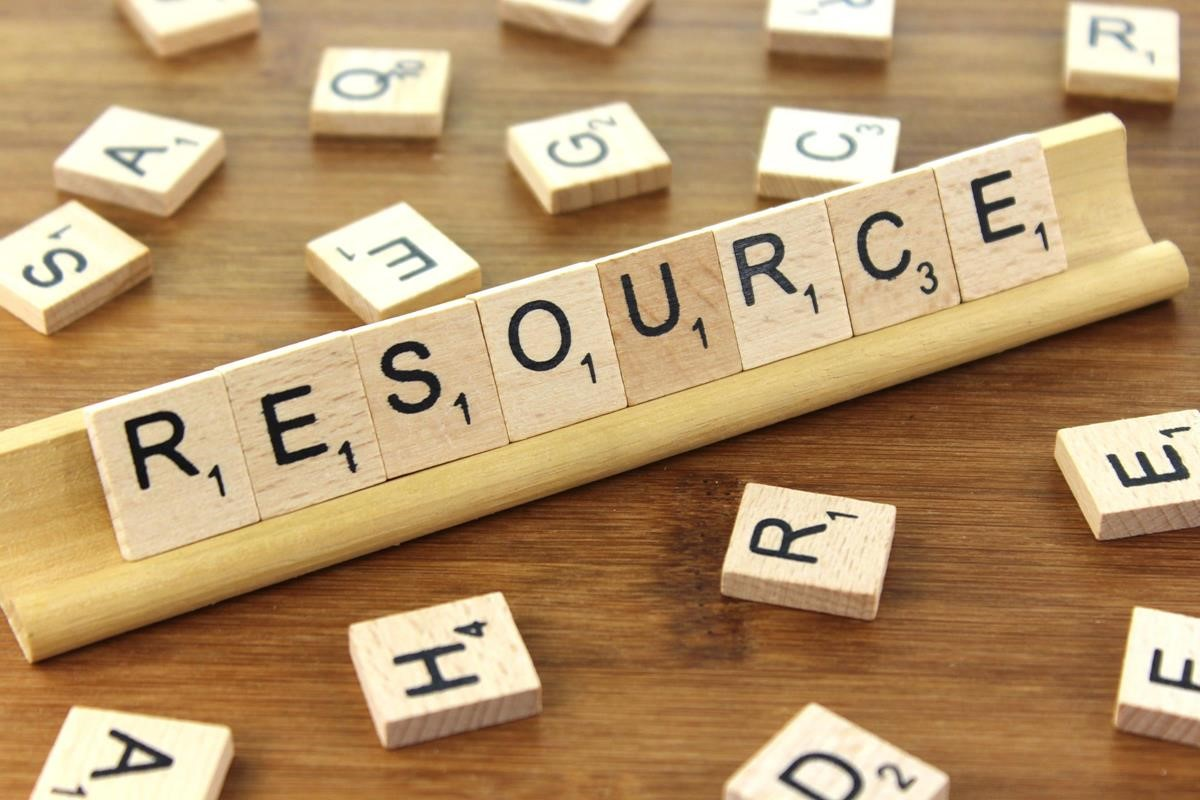 "Scrabble letters spelling out the word ""resource"""