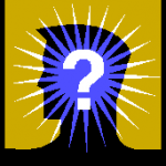 Man's silhouette with question mark
